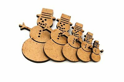 Wooden MDF Snowman Shapes Bunting Craft Embellishments Christmas Decoration • 1.84£