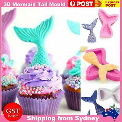 AU7.99 • Buy 3D Mermaid Tail Mold Scale Silicone Fondant Cake Mould Decor Sugar Chocolate Jel