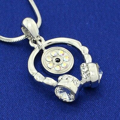 $ CDN40.03 • Buy Music Pendant W Swarovski Crystal Headphones CD Musical Necklace 18  Chain Gift