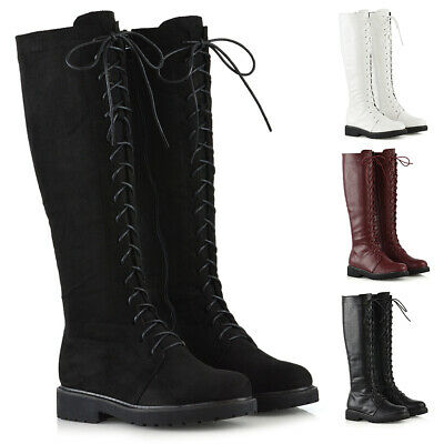 Womens Lace Up Knee High Calf Boots Ladies Winter Military Combat Biker Shoes • 26.99£