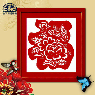 Chinese Character FU Finished Cross Stitch Fortune Good Luck Peony Butterfly CNY • 53.45£