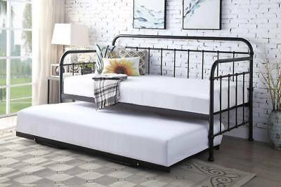 £279.99 • Buy Metal Day Bed & Guest Pull Out Trundle Bed - 3 Colours - Black / White / Bronze
