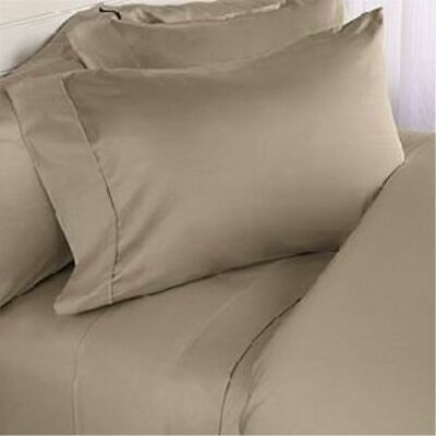 1000 TC Egyptian Cotton Taupe Solid UK Bedding Item-Sheet Set/Duvet/Fitted/Flat • 19.47£