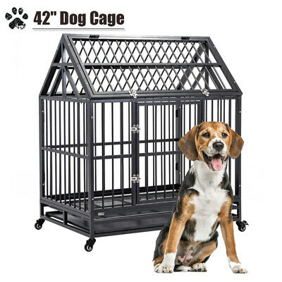 $199.99 • Buy Large 42  Dog Crate Cage Sliver Kennel Pet Playpen House W/ Roof&Tray Heavy Duty