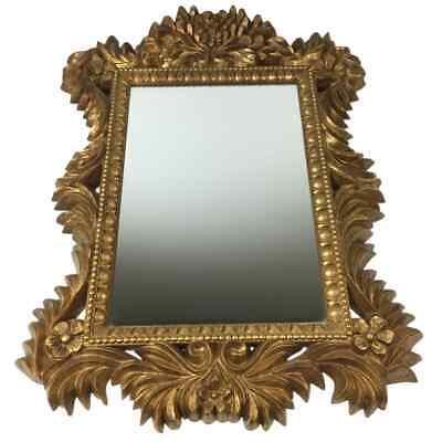 £111.26 • Buy Vintage French Rococo Gold Gilt Floral Wall Mirror Boudoir Hollywood Regency