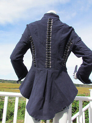 NEW S PYRAMID COLLECTION Riding Jacket Victorian Steampunk Blue Lace Peplum Coat • 76.87£