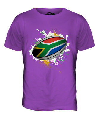 South Africa Rugby Ball Splatter Mens T-shirt Tee Top Giftworld Cup Sport • 18£