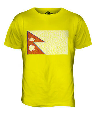 Nepal Scribble Flag Mens T-shirt Tee Top Giftnep?la Nepalese • 16£