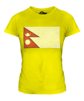 Nepal Scribble Flag Ladies T-shirt Tee Top Gift Nep?la Nepalese • 16£