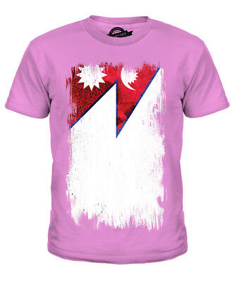 Nepal Grunge Flag Kids T-shirt Tee Top Nep?la Nepali Nepalese Shirt Football • 16£