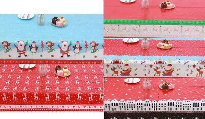 Disposable Christmas Tablecloth Wipe Clean Table Cloths Cover • 2.99£