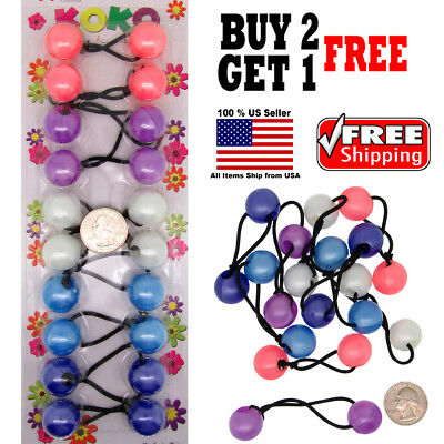 $4.98 • Buy Pastel Colors Girls Kids Scrunchie Beads Hair Tie Ball Ponytail Holder Band