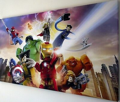 £20.99 • Buy LEGO MARVEL AVENGERS CANVAS PRINT WALL ART PICTURE  18 X 32 INCH