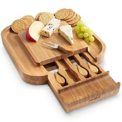 £24.99 • Buy VonShef Square Wooden Cheese Board With Slide Out Drawer Set Of 4 Knives