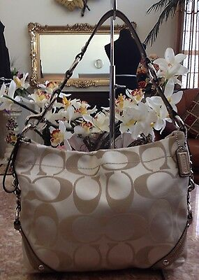 $ CDN80.70 • Buy Coach Signature Sateen Carly Handbag Hobo Khaki / Metallic Leather  F15250 Euc