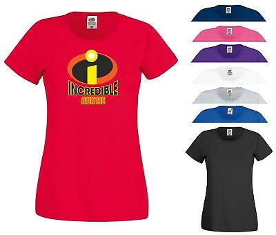 Incredible Auntie T Shirt The Incredibles Superhero Birthday Gift Women Tee Top • 7.99£