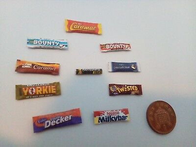 1/12 Scale Assorted Sweet Packets Set Of 10 For Dollhouse Miniatures *** • 1.50£