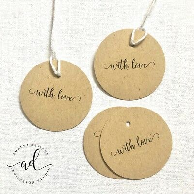 AU6.99 • Buy 24 With Love Thank You Kraft Gift Tags Wedding Favour Baby Shower Bomboniere Tag