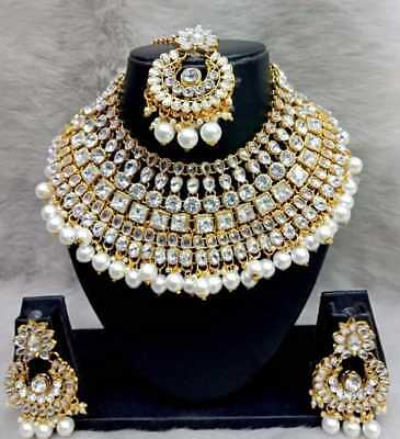 $24.49 • Buy Indian Fashion Bridal Jewelry Wedding Gold Tone Necklace Earring Set