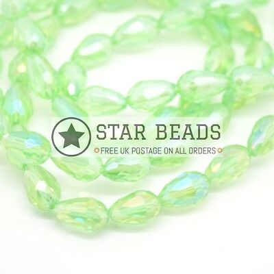 60 X Faceted Teardrop Crystal Glass Beads Peridot Ab 8x11mm • 2.75£
