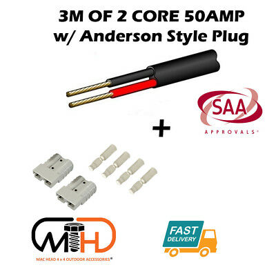AU21.95 • Buy 3m 50 Amp Anderson Plug Extension Lead 6mm Twin Core Automotive Cable Wire