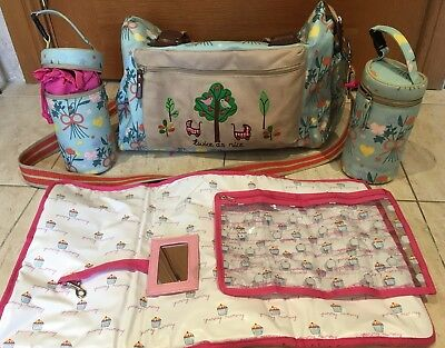 £30 • Buy Pink Lining Yummy Mummy Twin Changing Bag And Two Bottle Carriers Warmers