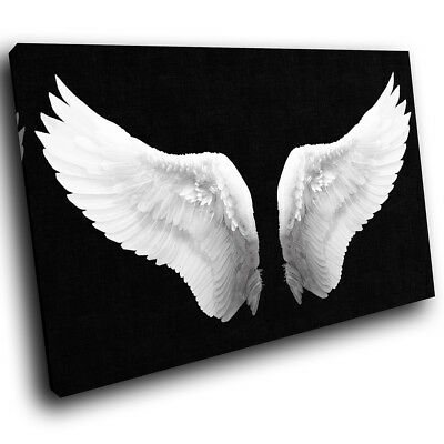 Black White Angel Wings Retro Modern Canvas Wall Art Large Picture Prints • 19.99£