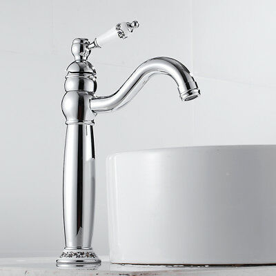 Tall Counter Top Bathroom Brass Basin Mixer Taps Traditional Chrome Tap WithHose • 32.33£