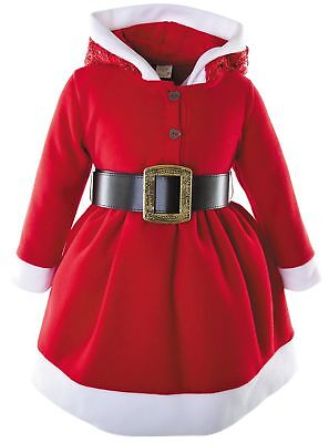$25.99 • Buy Lilax Little Girls' Holiday Christmas Santa Sparkle Hood Red Dress With Belt 5T