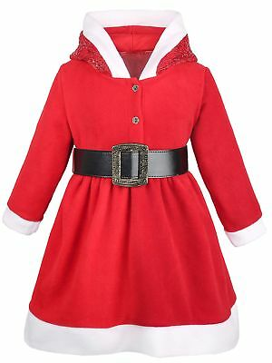 $25.99 • Buy Lilax Little Girls' Holiday Christmas Santa Sparkle Hood Red Dress With Belt ...