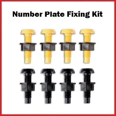 £2.49 • Buy Yellow & Black Plastic Number Plate Screws Nuts Bolts Fixings Fittings Fixers X8