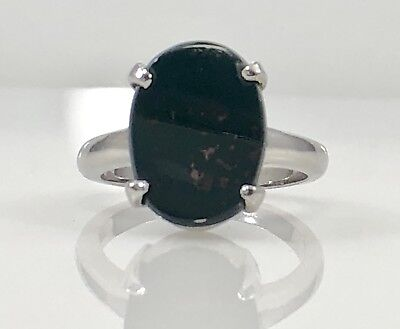 £164.81 • Buy Genuine Bloodstone (2.49ct) Solid 14K White Gold Ring, Size 6.25, New