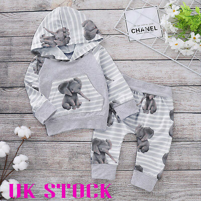 ✨Newborn Baby Girls Boy Hooded Tops Pants Autumn Clothes Outfits Sets Tracksuit✨ • 8.79£