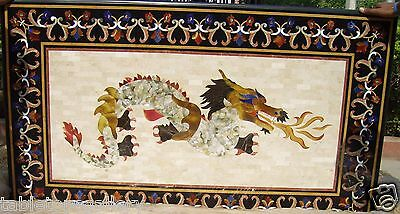 Exclusive Marble Dining Table Top Real Gems Dragon Art Mosaic Inlay Decor H2066A • 3,412.62£