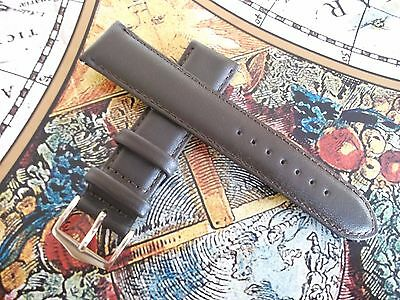 CHOCOLATE BROWN LEATHER WATCH STRAP BAND WITH  GOLD BUCKLE 18 20 Mm SPRING BARS • 8.95£
