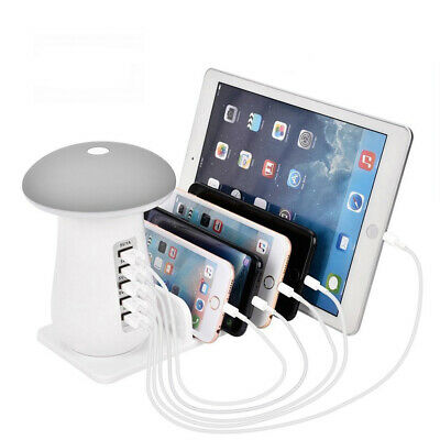 AU25.99 • Buy Multi Port USB Charger Mushroom Lamp Charging Station Dock For Iphone Samsung AU