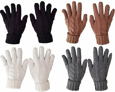 £4.99 • Buy New Ladies Cable Knit Fleece Lined Warm Winter Gloves Black Grey Cream Camel