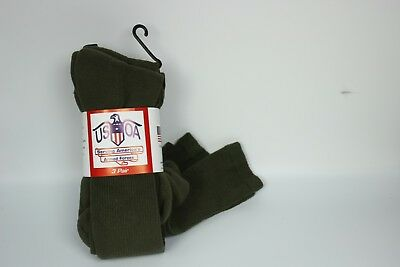 New Anti-Microbial Military Olive Drab Boot Socks, Pack Of 3 Made In USA • 10.69£
