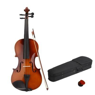 $32.99 • Buy Natural Basswood Full Size 4/4 Acoustic Violin Set With Case + Bow + Rosin