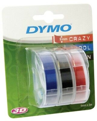 Dymo Omega Label Maker Embosser Thermal Printer Embossing Refill Tape X 3 Colour • 9.99£