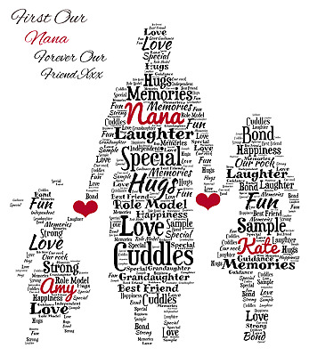 Personalised Word Art Nana Gran Grandma Grandaughters Mothers Day Print Gift • 6.99£