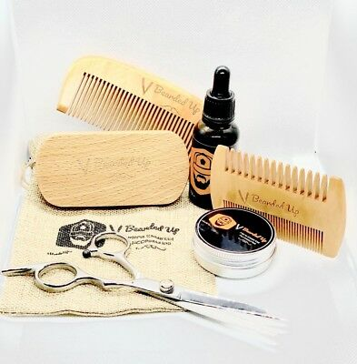 Gifts For Him BeardedUp Essential Grooming Kit 7pc Set Beard Balm Oil Wax Comb • 9.99£