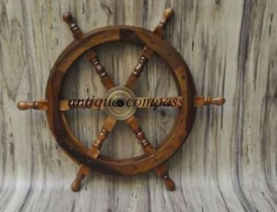 18 Nautical Wooden Ship Steering Wheel Pirate Decor Wood Brass Wall Boat DECOR • 28.90£