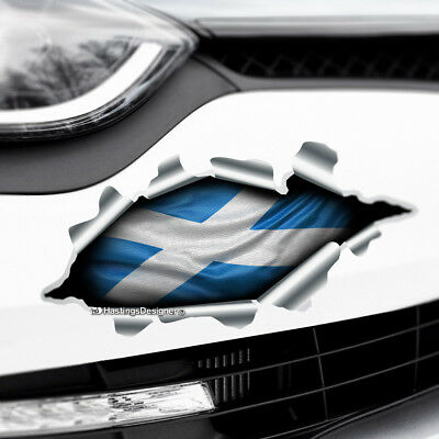 TORN RIPPED 3D EFFECT SCOTLAND FLAG CROSS Novelty Car,Bumper Vinyl Decal Sticker • 2.35£