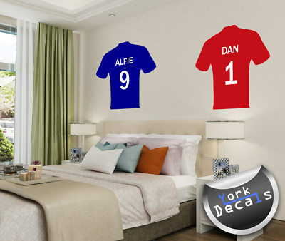 Personalised Football Top Shirt Kit Sticker, Wall Art Decal, Any Name & Number.  • 3.99£