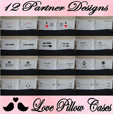LOVE PERSONALISED PILLOWCASES Pillow Case Pair Couple Gift Wedding Christmas • 15.99£
