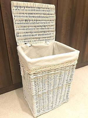 Large White Laundry Wicker Storage Basket Rattan Storage Xmas Gift Hamper Lid • 49.99£