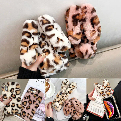Girls Leopard Print Rabbit Ears Faux Fur Plush Case Cover For IPhone XS Max 7 8 • 3.59£