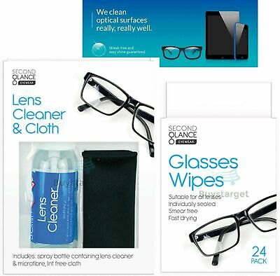 👓 Lens Glasses Cleaner & Microfibre Cloth Wipes Spectacle Camera Cleaning Spray • 2.45£