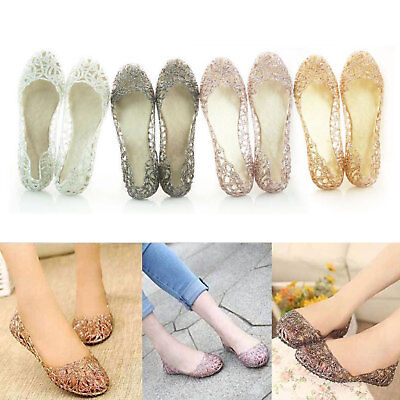5128f8d9c83 Womens Crystal Shoes Jelly Hollow Mesh Glitter Sandals Flat Slip On Loafers  Shoe • 9.49
